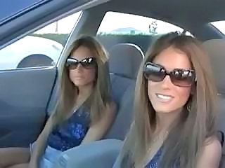 Amazing Brunette Car Sister Twins Sister