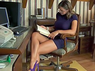 Brunette Glasses Legs Office Teacher Babe Ass European