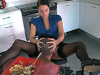 Femdom Kitchen Licking Stockings Stockings Pussy Licking