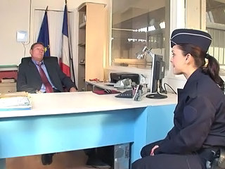 Amazing Brunette European French Office Uniform European French