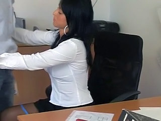 Amazing Brunette Office Secretary Nylon