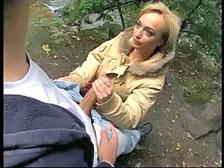 Blonde European German Handjob  Outdoor Outdoor German Milf German Blonde European German