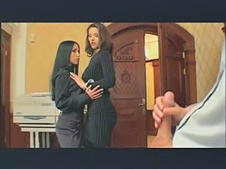 Brunette Handjob Office Secretary Stockings Threesome Boss
