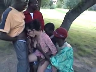 Blowjob Brunette Gangbang Glasses Outdoor Outdoor