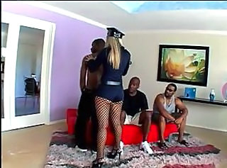 Fishnet Gangbang Interracial Uniform Fishnet Police
