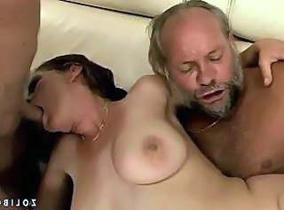 Blowjob Groupsex Natural Old and Young Threesome Grandpa Old And Young Threesome Brunette