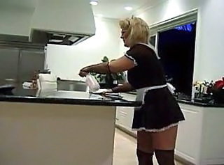 Blonde Glasses Kitchen Maid Pornstar Stockings Uniform Stockings Maid Ass
