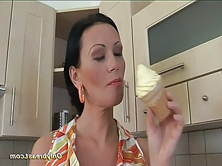 Brunette Kitchen  Pornstar Milf Babe