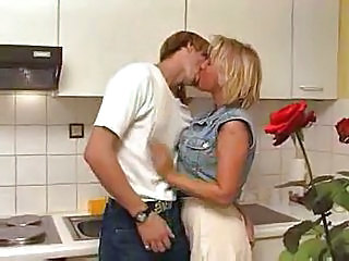 Blonde Kissing Kitchen  Aunt Kitchen Sex