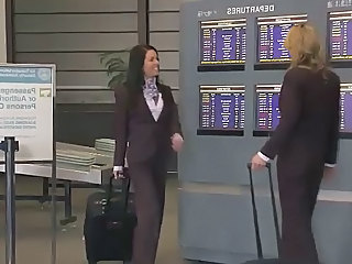 Brunette  Uniform Clothed Fuck Stewardess