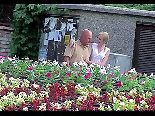 Blonde Cute Old and Young Outdoor Young Cute Blonde Grandpa Old And Young Outdoor Girlfriend Blonde Young Girlfriend