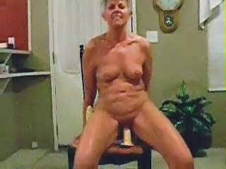 Granny Dildo Riding Older Man