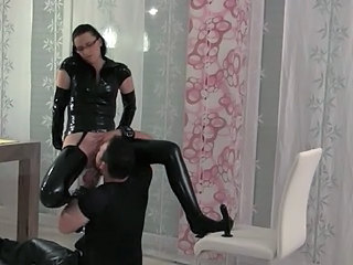 Femdom Glasses Latex Licking Slave Ass Licking Slave Ass