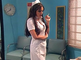 Babe Brunette Doctor Nudist Pornstar Smoking Uniform Babe Ass
