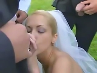 Blonde Blowjob Bride Gangbang Outdoor Wedding Outdoor Gangbang Blonde