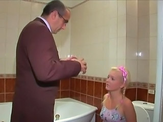 Blonde Cute Old and Young Pigtail Toilet Cute Blonde Old And Young