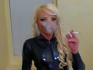 Blonde Fetish Latex  Smoking