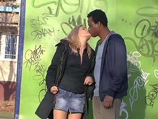 Blonde Interracial Kissing Outdoor Blonde Interracial Outdoor Interracial Blonde