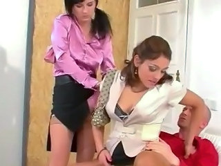 Babe Clothed Riding Stockings Threesome Son Stockings Threesome Babe Threesome Hardcore