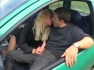 Car Clothed European French Handjob  French Milf European French