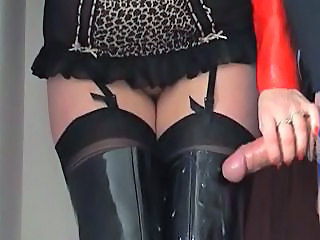 European Handjob Latex Stockings British