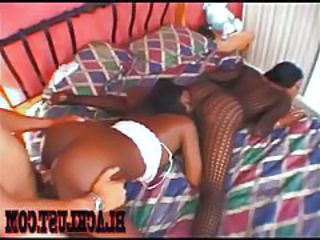 Doggystyle Ebony Fishnet Licking Threesome Fishnet