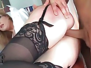 Doggystyle Glasses Office Secretary Stockings Doggy Ass Stockings