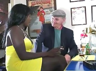 Daddy Drunk Ebony Interracial Old and Young Smoking Daddy Old And Young Waitress
