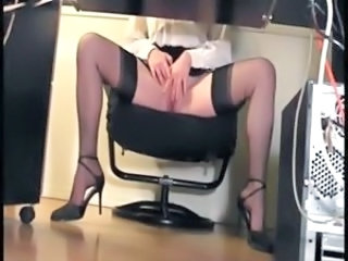 Masturbating Office Secretary Stockings Voyeur Stockings Nylon