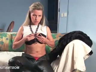 Latex Mature Blonde Mature