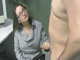 Glasses Handjob Office Secretary Cfnm Handjob Jerk