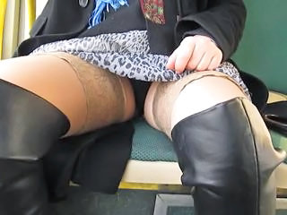 Bus Upskirt Stockings Upskirt