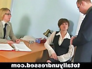 Office Russian Secretary Threesome Interview