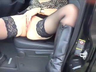 Car Masturbating Stockings Hooker Stockings