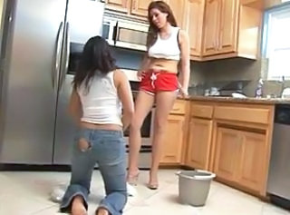 Jeans Kitchen Latina Lesbian Maid Mistress