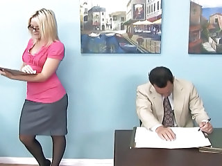 Blonde Glasses  Office Secretary Footjob Foot Milf Ass Milf Office Office Milf