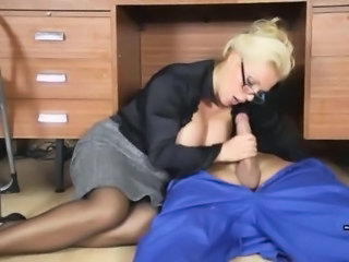 Blonde Clothed Glasses Handjob  Office Secretary Milf Ass Milf Office Office Milf