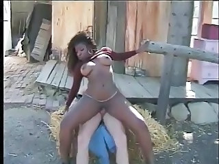Ebony Farm Interracial  Outdoor Riding Vintage Outdoor Farm