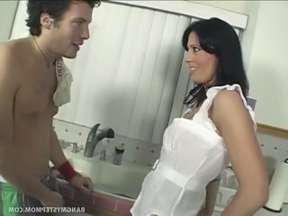 Bathroom Brunette  Mom Old and Young