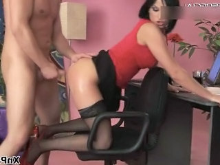 Amazing Brunette Clothed Doggystyle  Office Secretary Stockings Dirty