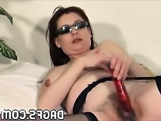 Cute Dildo Hairy Mom