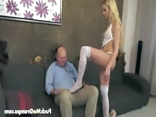 Blonde Cute Old and Young Stockings Grandpa