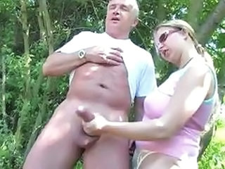 Amateur Daddy Handjob Outdoor