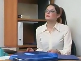 Glasses Masturbating Office Secretary