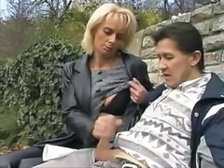 Clothed Handjob Mature Outdoor Public Public