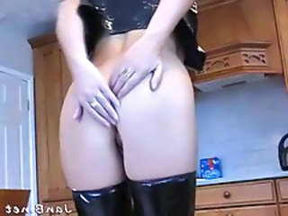 Blonde Blowjob Kitchen Latex Natural Leather