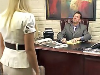 Babe Blonde Office Secretary