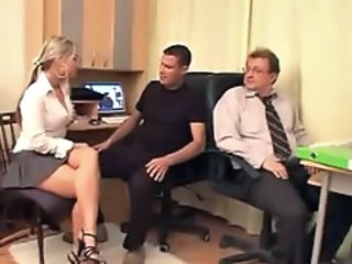Babe Blonde Office Secretary Threesome