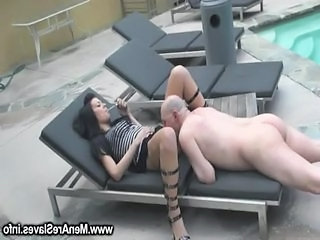 Clothed Femdom Licking Old and Young Smoking