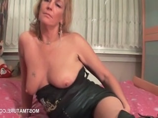 Amateur European Mature  Leather